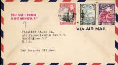 "(Bermuda) Pan Am F/F Bermuda to Port Washington, airmail cover franked 9d, canc Hamilton cds, red two line ""First Flight - Bermuda/ to Port Washington, NY"". Marked the change of the terminal northward from Baltimore to the New York area. Uncmmon and not easy to find."