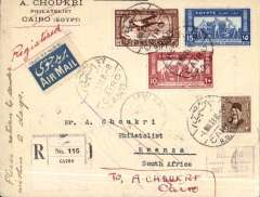 (Egypt) F/F Cairo to Mwanza, bs 10/3, carried on Imperial Airways first airmail England to Africa, registered (label) Choukri corner cover franked 27,15,10,3 ml, blue/white airmail etiquette. Returned to sender via Mombassa 16/3 and Port Said 6/4. Interesting.