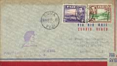 "(Fiji) First acceptance for Great Britain for carriage on the Pan Am F/F Suva to San Francisco, and on to London, bs framed magenta ""United States Lines/1 Dec 1941/London"" by US internal air service and FAM 18/BOAC, airmail cover franked 2/- and 2/6d, official flight cachet."