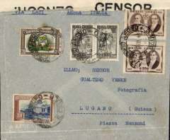 "(Brazil) POW censored 'LATI' air cover, Brazil to Switzerland, no arrival ds, grey airmail envelope franked 5400R, canc Sao Paulo cds, sealed B&W 'Opened By Censor 1234' tape (Prisoner of War Censorship, New York), typed ""Via LATI/Aerea Italia"". It is likely that the sender's intention was for carriage by LATI (5400R is the correct  LATI rate to Germany), but it would seem that (suspected) POW status caused a reroute via the special US POW censor in New York. Interesting."