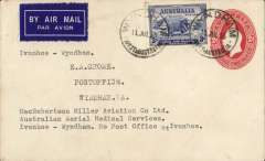 """(Australia) MacRobertson Miller Aviation/Australian Aerial Medical Services reopening of Ord River-Wyndham service, plain cover addressed to EA Crome, 2d PSE with additional 3d canc Wyndham/West Australia 11/7/35 cds, dark blue/white etiquette, typed """"MacRobertson Miller Aviation Co Ltd/Australian Aerial Medical Services/Ivanhoe-Wyndham. No Post Office at Ivanhoe"""".   The plane left Wyndham on the 9th, collected mail from Ord River, and returned on to Wynham on the 11th when this cover was cancelled."""