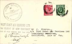 (GB Internal) West Coast Airways, second contract, Liverpool to Castletown, black three line cachet, circular black Liverpool cachet on front, circularl red IOM cachet verso, signed by the pilot, Capt.GT Greenholph.