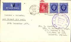 "(GB External) Imperial Airways/TATA, GB acceptance for Indo-Ceylon Special Xmas Flight, plain cover franked 6d, bs Colombo 24/12, special circular flight cachet on front, typed ""1st Direct Air Mail/December 1936"". Unusual."