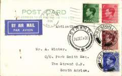 "(GB External) King Edwad VIII Abdication Day airmail PC to South Africa, Srand C.P. 28 Dec 36 arrival ds on front, franked 1936 KEVIII set of 4 canc,  11 Dec 1936.   On the day his reign officially ended, 11 December 1936, Edward made a BBC radio broadcast from Windsor Castle; no longer king, he was introduced by Sir John Reith as ""His Royal Highness Prince Edward""."