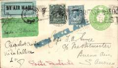"(GB External) England to Argentina, bs Buenos Aires10/2, via Toulouse 14/1,  Smye 1/2d PSE with additional 4d and 10d, canc Gosport 5/1/27 cds, pale green/black P25 airmail etiquette, ms ""per 1st Air Mail/London-S. America"" and ""Paquebot Croile/via La Pallice, black '2'2 in circle BA postal mark verso. No record of a 1st flight on this date, but was it part flown?. La Pallice was a French port used by the Pacific Steam Navigation Company on its Liverpool - La Pallice - Corunna - Vigo - Lisbon - Recife - Salvador - Rio de Janeiro - Montevideo - Buenos Aires service. Interesting."