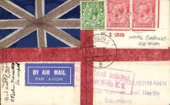 (GB External) Devonport Naval barracks to Berlin, 18.8.28 arrival date stamp and red framed 'Luftpost Berlin C2' arrival mark on the front, privately designed airmail etiuette PC with Union Jack and Cross of St George, franked 2 1/2d. Verso beautiful B&W photo of H.M.S.Victory.