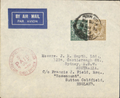 (GB External) Imperial Airways, London to Sydney, b/s, carried on the Second Experimental Flight to Australia, imprint airmail etiquette cover franked 1/4d, canc London FS/ 24 Apr 31/Airmail cds. No cachets were used on this flight with the exception of Singapore. Francis Field authentication hs verso.