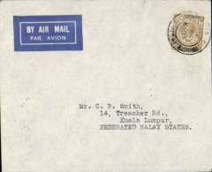 (GB External) Imperial Airways, London to Kuala Lumpur, bs 8/5, via Alor Star 7/5, carried on Second Experimental Flight to Australia, imprint airmail etiquete cover franked 1/-, canc London FS/Air Mail cds. Small mail. Only mail to singapore was backstamped. Francis Field authentication hs verso.