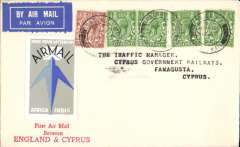 "(GB External) Imperial Airways F/F London to Cyprus, no arival ds, franked 3 1/2d canc London FS/Air Mail cds, printed cream/red souvenir cover with red three line ""First Air Mail/BetweenEngland & Cyprus"" and IAW blue winged logo on flap, attractive blue/grey/black 'Send Your Letters By/Air Mail/Africa India' Imperial Airways vignette. Francis Field authentication hs verso."
