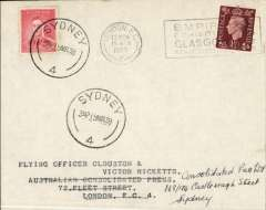 (GB External) Clouston and Ricketts record DH88 Comet flight, London to Australia, Sydney 19 MR 38 arrival ds on  front, plain cover franked 1 1/2d canc London EC cds, also Australia 2d canc Sydney 19/3 to confirm date of arrival. A scarce item in fine condition.
