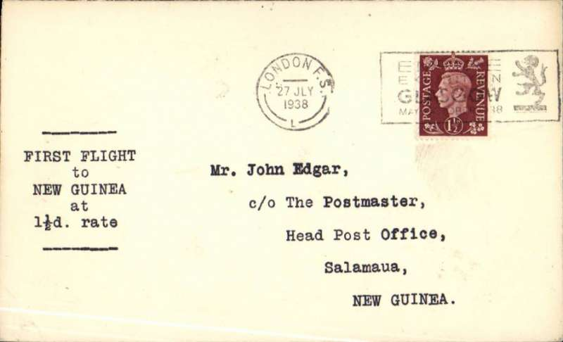"(GB External) F/F Third Stage EAMS, London to New Guinea, bs Salamau 10/8, via Townsville, Aust. 8/8, franked 1 1/2d, typed ""First Flight/to/New Guinea/at/1 1/2d Rate"", plain cover, Imperial Airways."