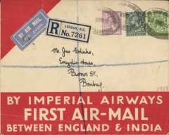 "(GB External) Imperial Airways England-India service, London to Bombay, bs 9/4, carried on F/F Croydon-Karachi, official red/white ""By Imperial Airways First Air Mail between England and India"" registered (label) cover, franked 10 1/2d, canc London oval 'Registered/Chief Office E.C.1.', airmail etiquette."